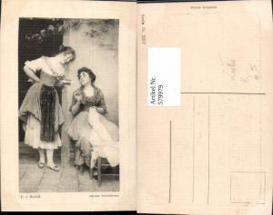 579979,Künstler Ak E. v. Blaas Jeunes Venitiennes Frauen Nähen Heimarbeit Hausarbeit Liebe Liebesbrief