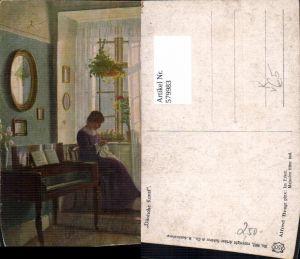 579983,Künstler Ak Alfred Broge Im Erker Sticken Nähen Heimarbeit Hausarbeit pub Arthur Schürer 9662
