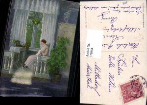 579984,Künstler Ak A. Friebus Dämmerstunde Frau Nähen Heimarbeit Hausarbeit