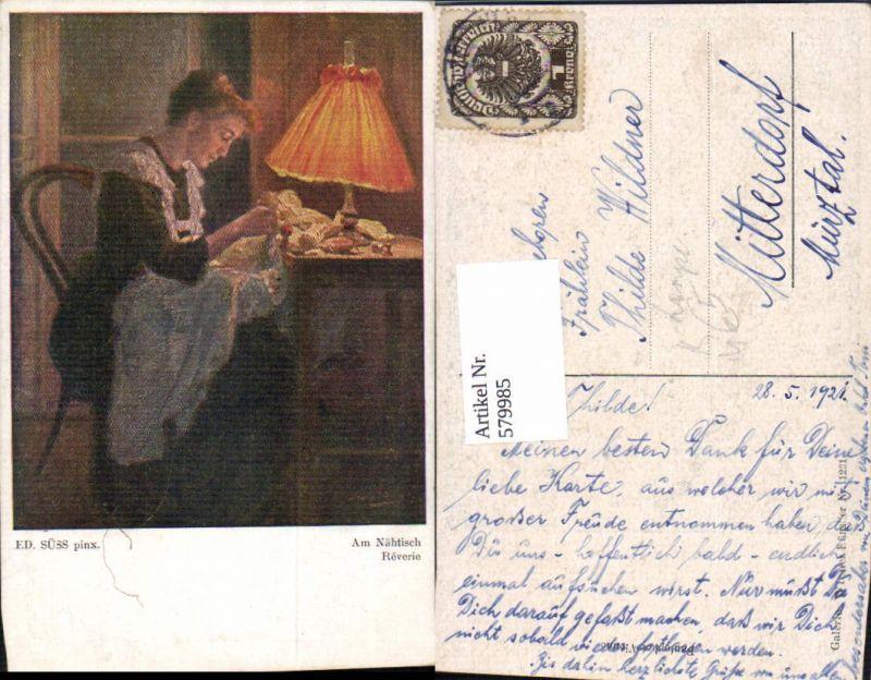 579985,Künstler Ak Ed. Süss Am Nähtisch Nähen Lampe Heimarbeit Hausarbeit
