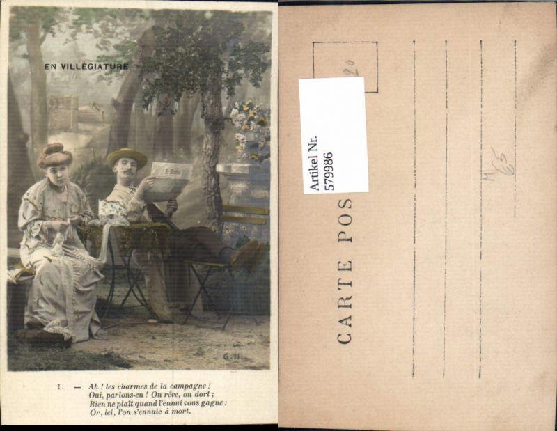 579986,En Villegiature Frau Nähen Mann Zeitung Lesen Heimarbeit Hausarbeit