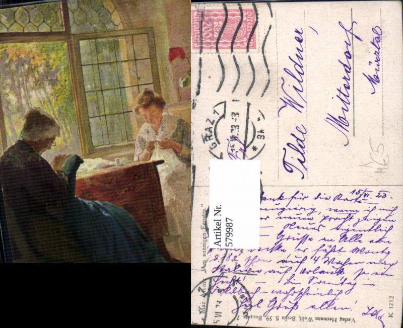 579987,Künstler Ak Max Arenz Am sonnigen Fenster Frauen Nähen Sticken Heimarbeit Hausarbeit