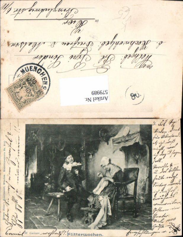 579989,Künstler Ak M. Gaisser Flitterwochen Frau Nähen Mann Lesen Heimarbeit Hausarbeit pub Ottmar Zieher 2140