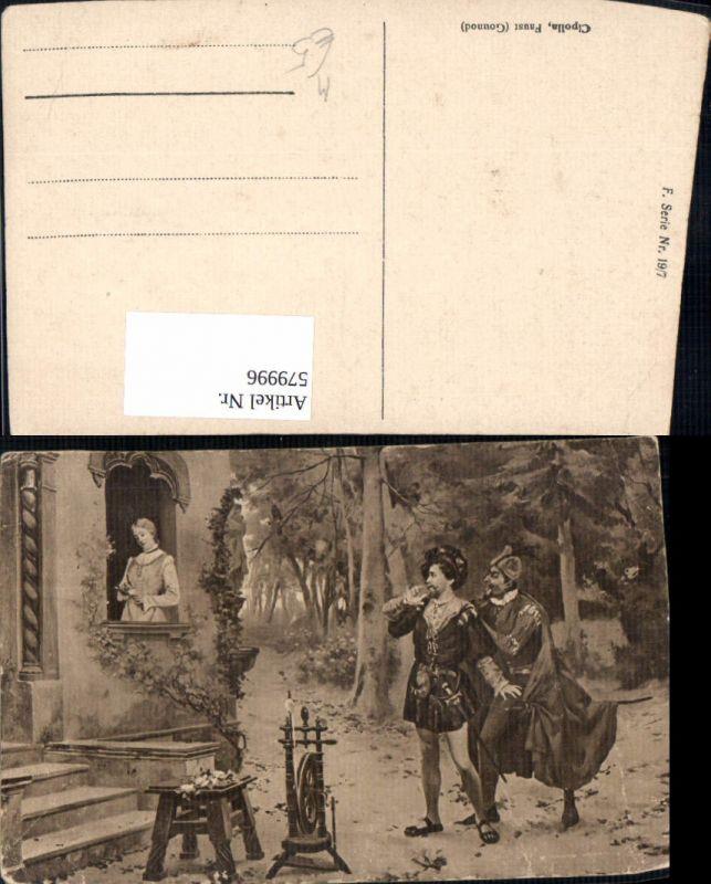 579996,Künstler Ak Cipolla Faust Gounod Spinnrad v. Haus Heimarbeit Hausarbeit