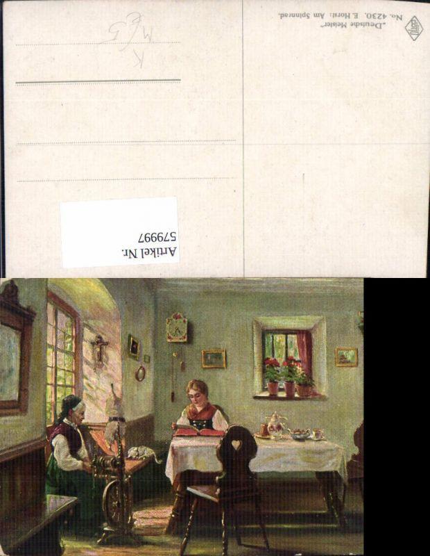 579997,Künstler Ak E. Horst Am Spinnrad Frauen Lesen Stube Heimarbeit Hausarbeit