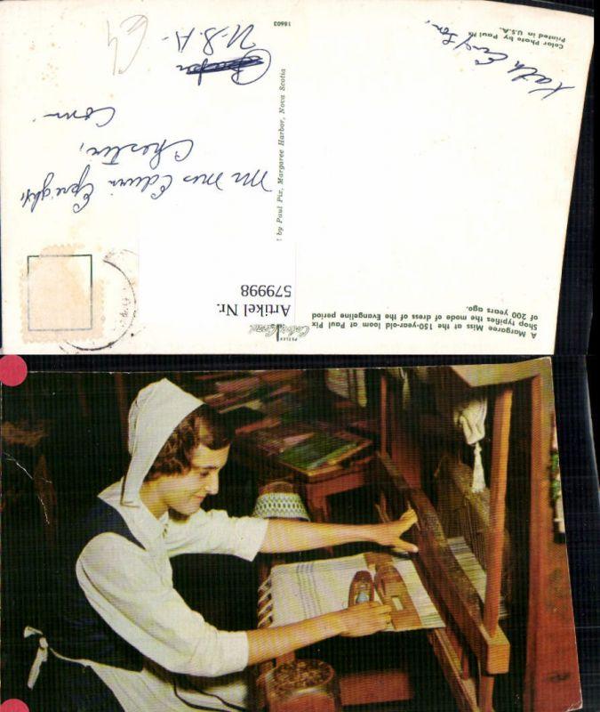 579998,A Margaree Miss at the 150 year old loom Webstuhl Heimarbeit Hausarbeit