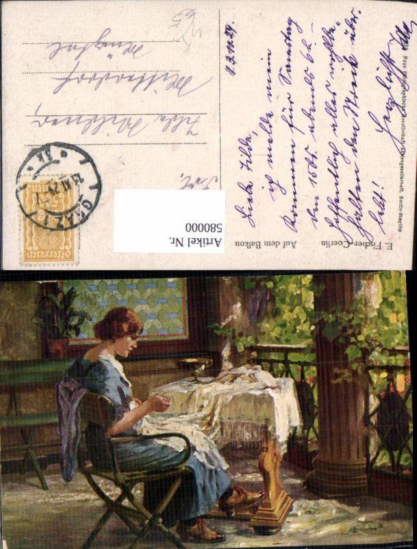 580000,Künstler Ak E. Fischer-Coerlin Auf dem Balkon Frau Nähen Heimarbeit Hausarbeit pub NPG 218
