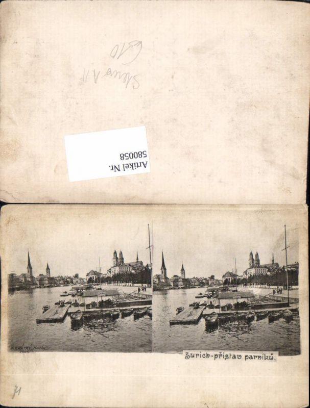 580058,Stereo AK Zürich Stereokarte pub F. Kratky Kolin