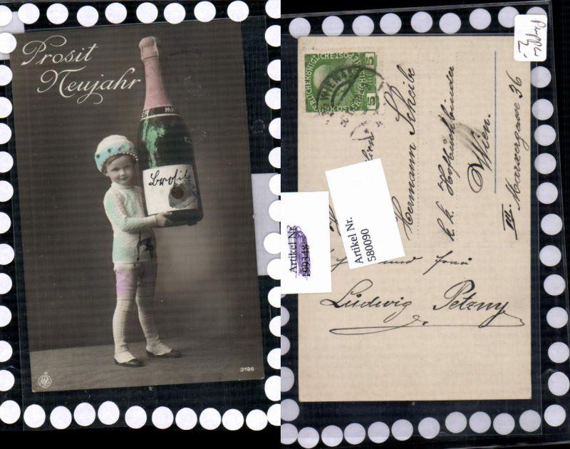 580090,tolle AK Neujahr Junge Sektflasche Sekt Riesen Flasche pub NPG 3196