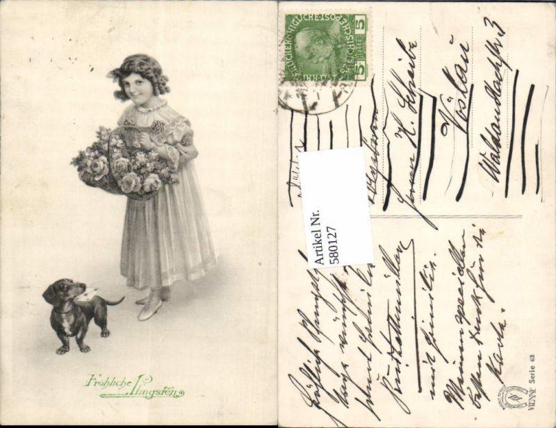 580127,Pfingsten Dackel Hund Mädchen Brief