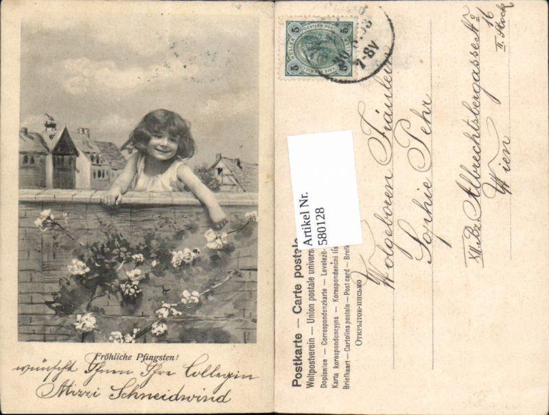 580128,Pfingsten Mädchen Blumen