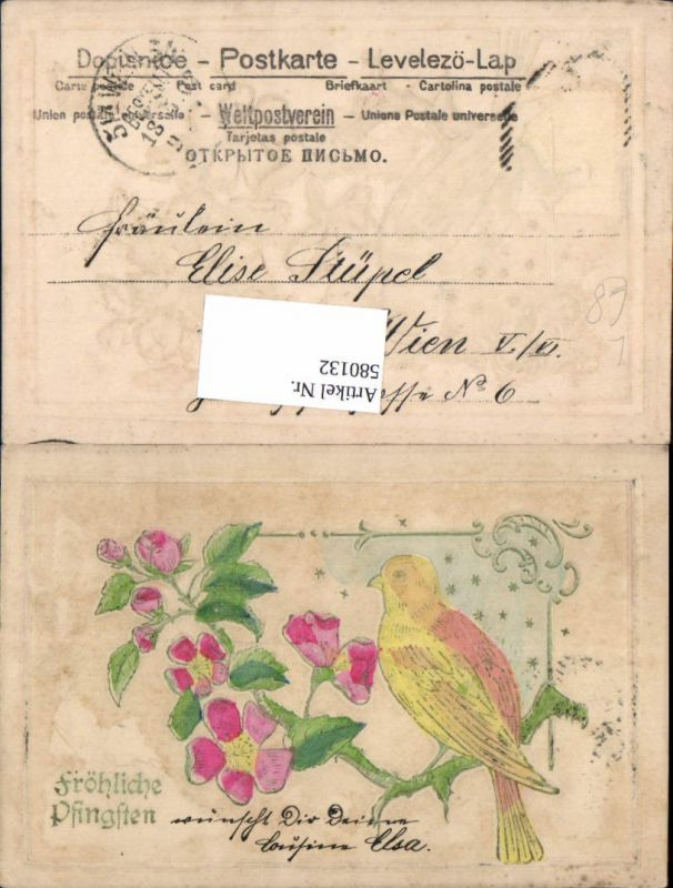 580132,Pfingsten Präge AK Vogel Blumen