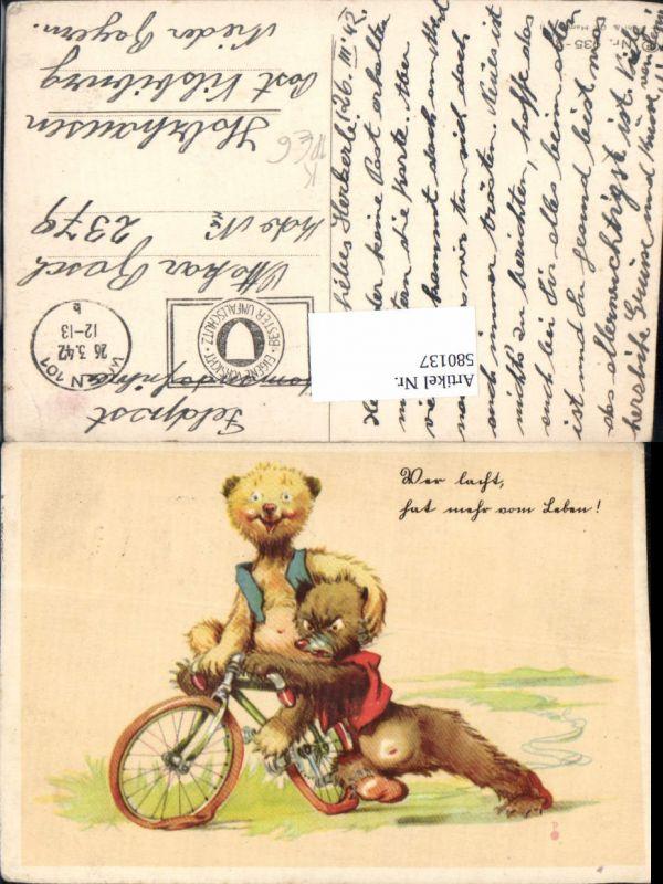 580137,Künstler AK G. Pahl Humor Bären Rad Fahrrad Feldpost Holzhausen