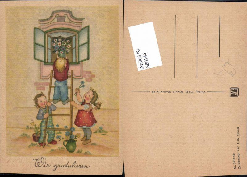 580140,Künstler AK Lilly Schott Kinder Geburtstag