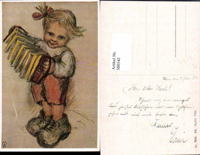 580142,Künstler AK M. Spötl VMS 366  Kind Ziehharmonika