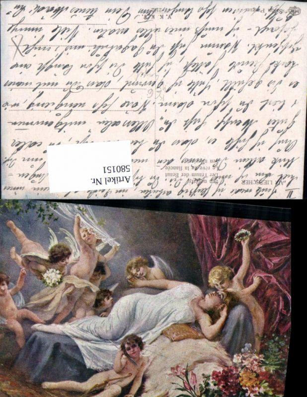 580151,Künstler AK Adolf Liebscher Engel Frau