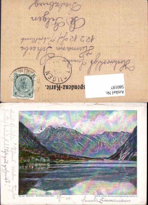 580197,Lithographie Slovenia Ruppe sign. Wocheiner See Bohinj Wochein