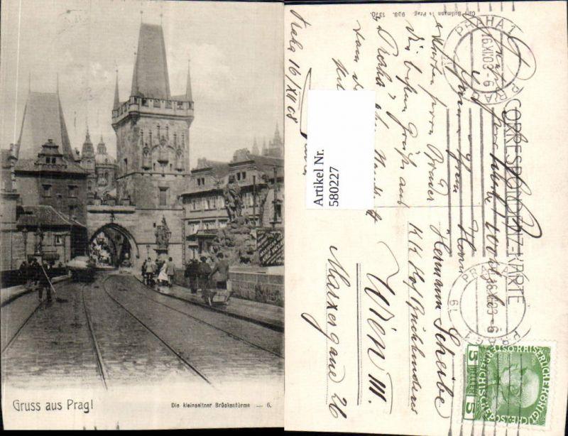 580227,tolle AK Gruß aus Prag Praha Kleinseite Brücke
