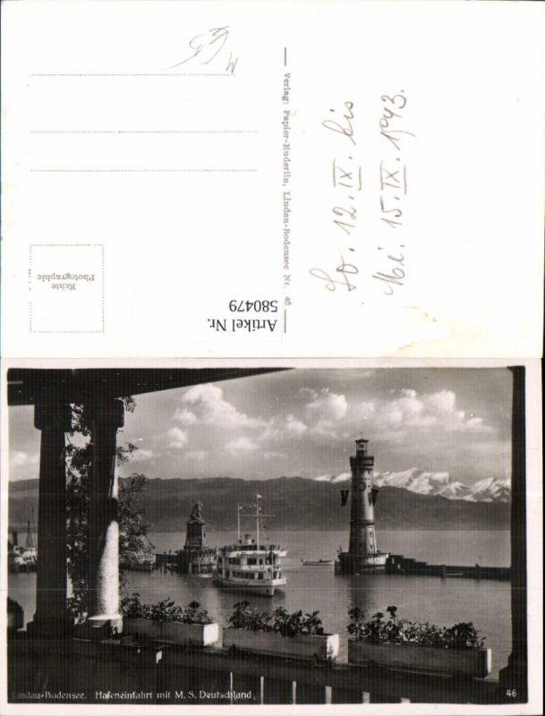 580479,Foto Ak Leuchtturm Lindau Bodensee Hafeneinfahrt m. M.S. Deutschland Schiff Dampfer