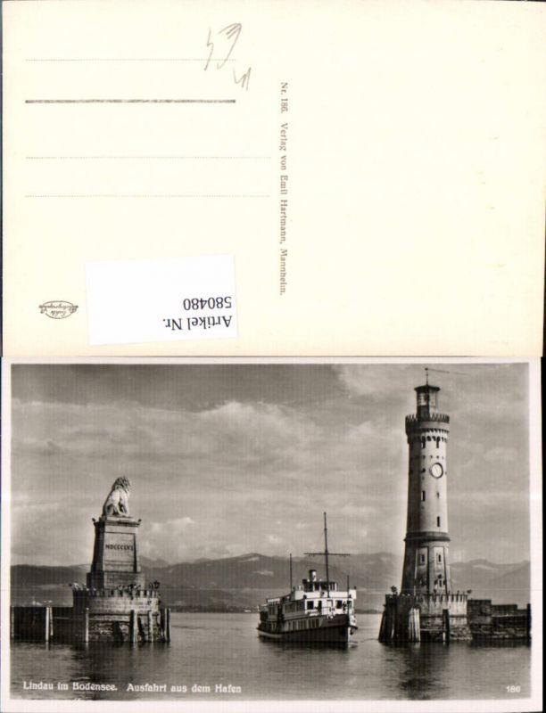 580480,Foto Ak Leuchtturm Lindau Bodensee Ausfahrt a. d. Hafen Löwendenkmal Schiff Dampfer