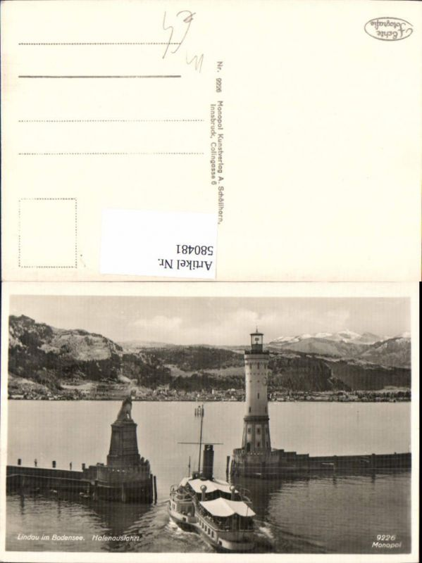 580481,Foto Ak Leuchtturm Lindau Bodensee Hafenausfahrt Löwendenkmal Schiff Dampfer