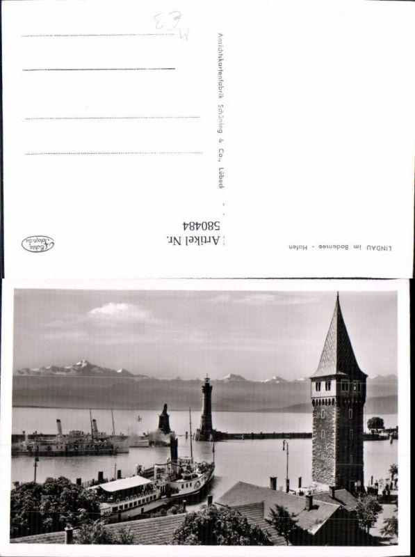 580484,Foto Ak Leuchtturm Lindau Bodensee Hafen Schiffe Dampfer Turm