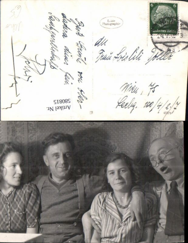 580815,Foto Ak Gruppenbild Familie Paare Arm um Schulter gelegt Alkohol