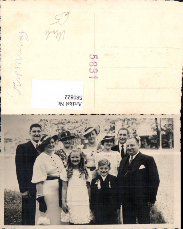580822,Foto Ak Gruppenbild Familie Mode Hut Handschuhe Firmung