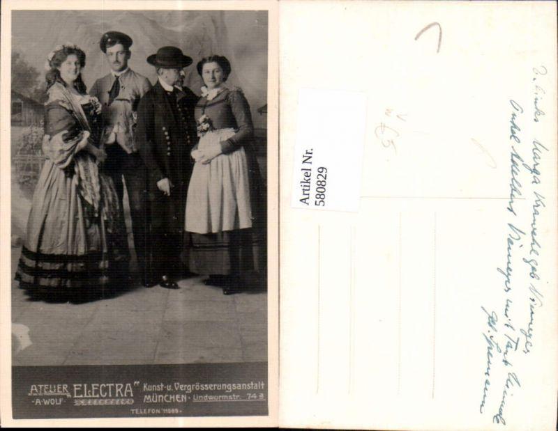580829,Foto Ak Gruppenbild Familie Paare i. Tracht  Krawehl Niemeyer pub Atelier Electra München