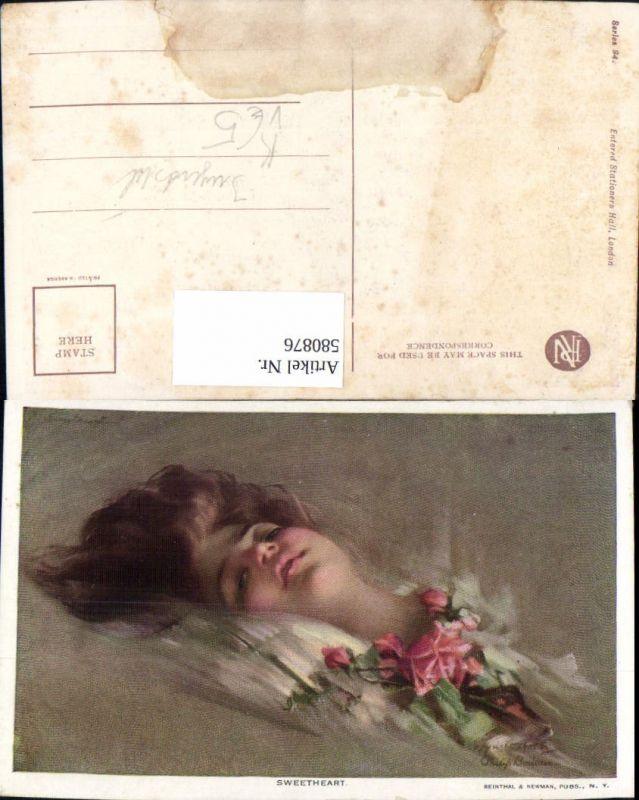 580876,Künstler Ak Jugendstil Philip Boileau Sweetheart Frau Rosen pub Reintal Newman