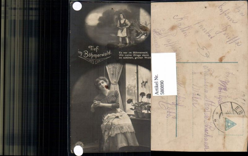 580890,Fotomontage Frau Kind Tief im Böhmerwald Text