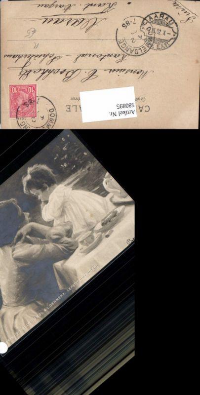 580895,Künstler Ak G. L. Dennery Le petit dejeuner Frau als Mutter Kind