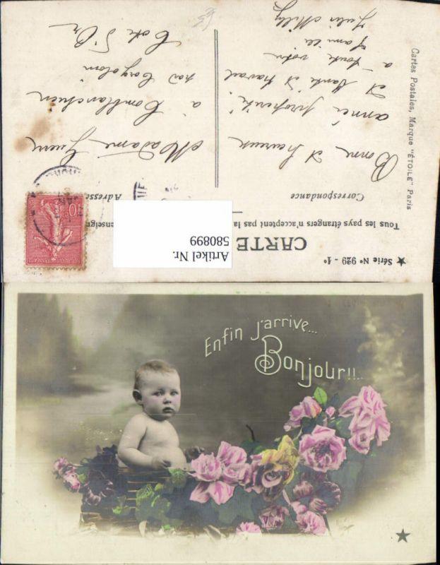580899,Baby Kleinkind Kind Rosen Blumen Enfin j arrive Bonjour