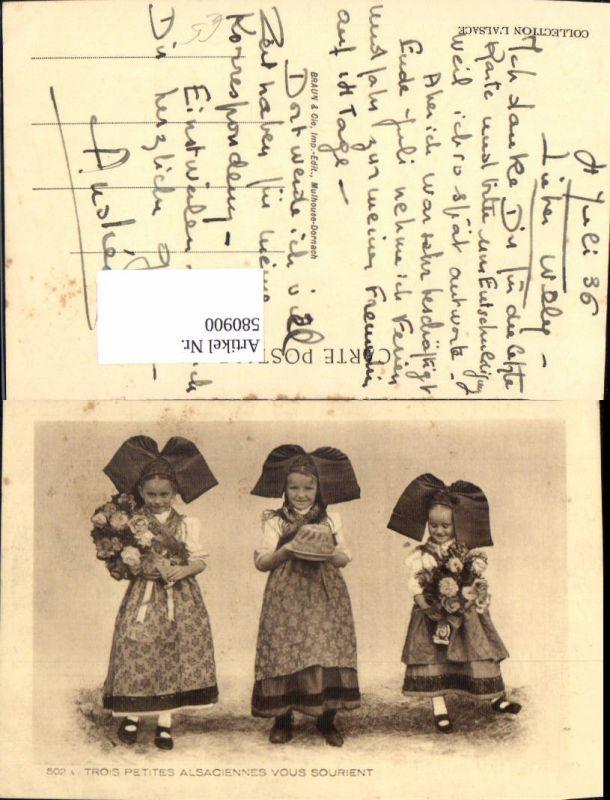 580900,Mädchen Kinder in Tracht Schwalbenschwanz Kuchen Blumen Alsace Elsass