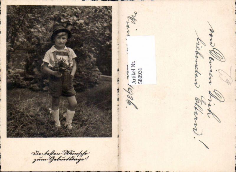 580931,Kind Bub Junge i. Tracht Lederhose Hut Geburtstag Wien 1936