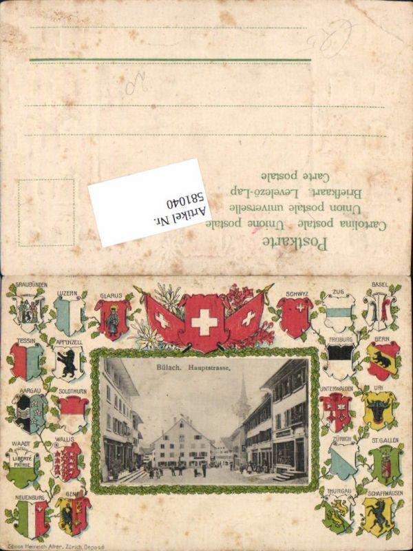 581040,tolle Präge Lithographie Bülach Wappen Schweiz Kt Zürich