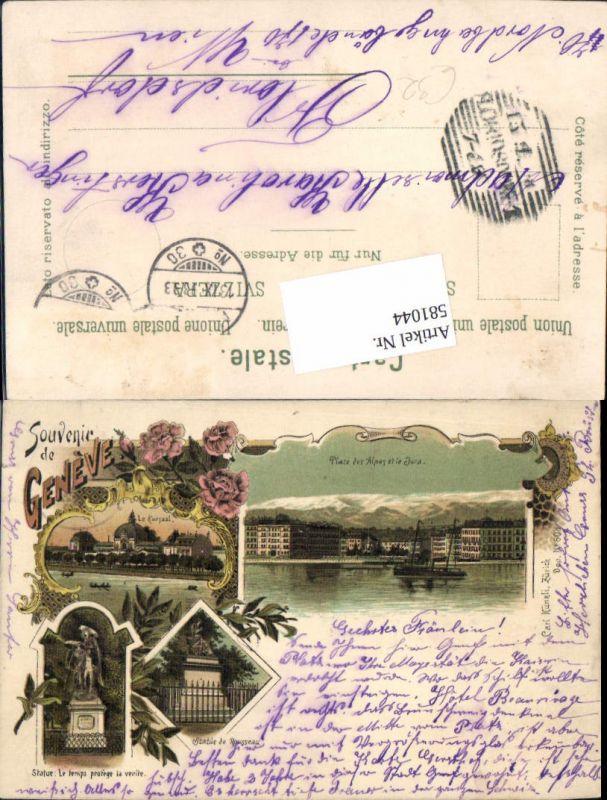 581044,tolle Lithographie Souvenir de Geneve Genf pub Carl Künzli 608