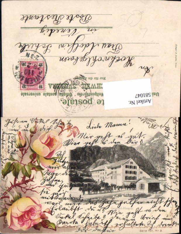 581047,tolle Lithographie Grimsel Hospiz Guttannen Gletsch Innertkirchen Bern Grimselpass