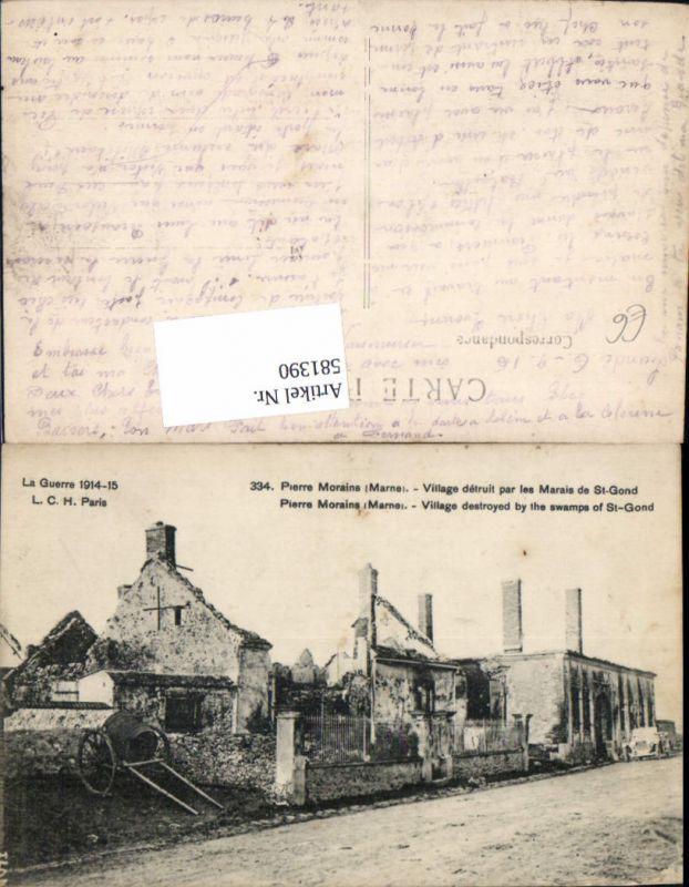 581390,France Pierre Morains Marne Village detruit par les Marais de St-Gond WW1 La Guerre 1914