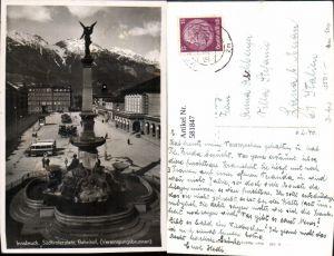 581847,Foto Ak Innsbruck Südtirolerplatz Bahnhof Vereinigungsbrunnen Brunnen Bus