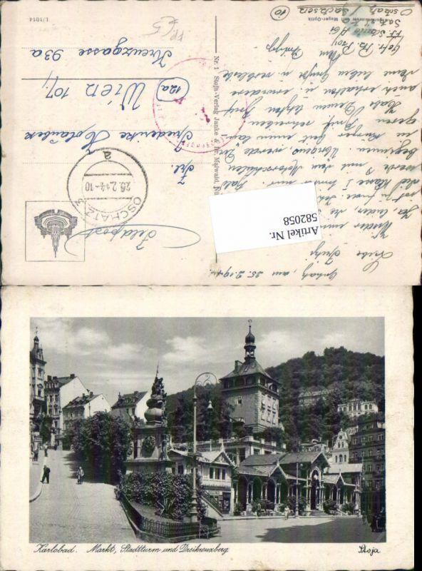 582058,Karlsbad Karlovy Vary Stadtturm Dreikreuzberg Feldpost Oschatz