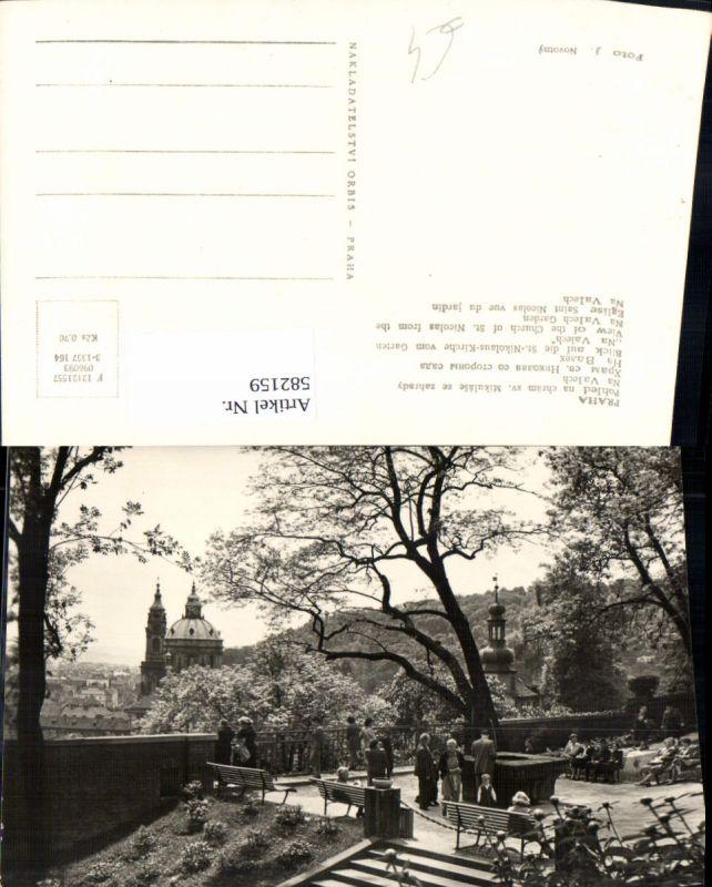 582159,Foto Ak Prag Praha Pohled na chram sv. Mikulase ze zahrady na Valech St Nikolaus-Kirche v. Na Valech Garten