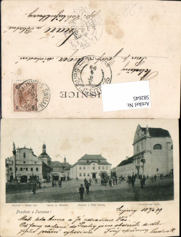582645,Litho Turnov Turnau Frantiskansky klaster 1899 Czech Republic