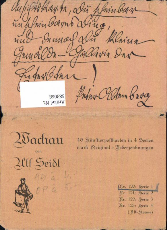 583068,Reklame Umschlag Ulf Seidl Wachau Serie Alt Krems (nur Umschlag)