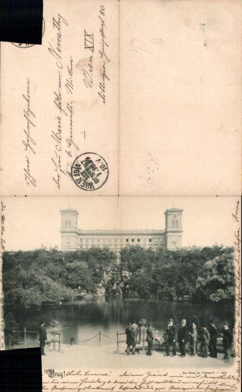 583076,Klappkarte Prag Praha Stadtpark Teich 1900