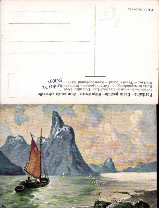 583097,Künstler AK F. Bayerlein München Segelschiff Segelboot