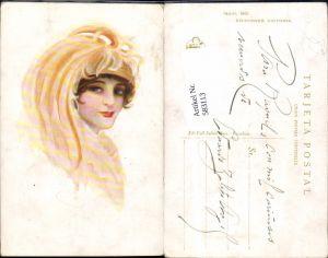 583113,Künstler AK Jugendstil Art Nouveau Frau Glamour