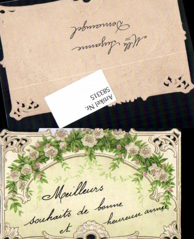 583315,Lithographie Beleg Kärtchen Blumen