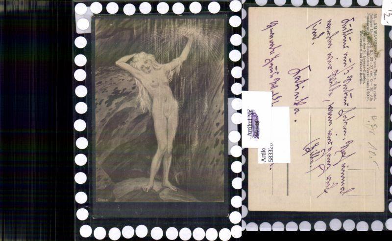 583326,Künstler AK FIDUS 36 Am Wasserfall Erotik Akt