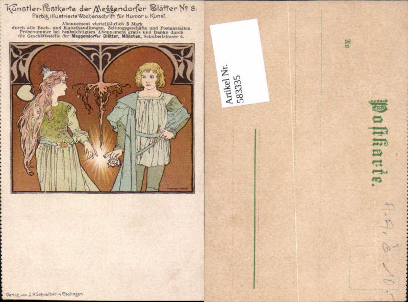 Künstler AK Koloman Moser Art Nouveau Jugendstil Postkarte Meggendorfer Blätter 8